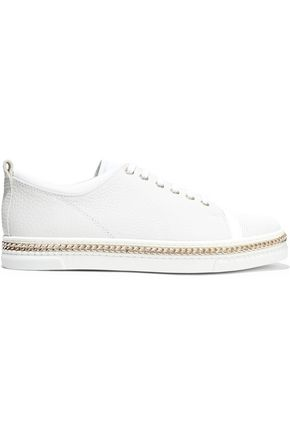 Chain Trimmed Lizard Effect And Textured Leather Sneakers by Lanvin
