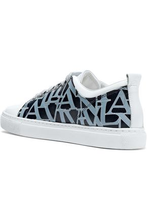 LANVIN Printed matte and patent-leather sneakers