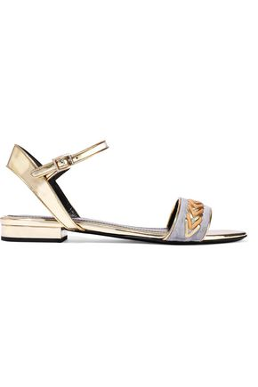 LANVIN Whipstitched suede-paneled mirrored-leather sandals