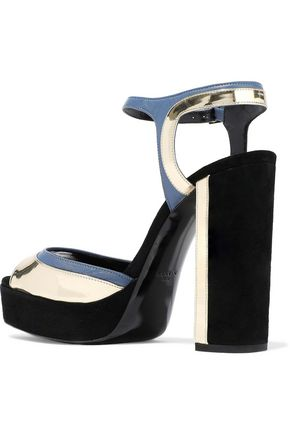 LANVIN Suede, matte and mirrored-leather platform sandals