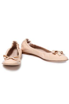 STUART WEITZMAN Bow-embellished crinkled patent-leather ballet flats
