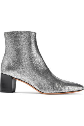 VINCE. Lanica metallic cracked-leather ankle boots