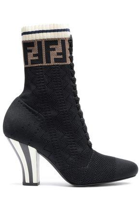 FENDI Lace-up jacquard-knit ankle boots