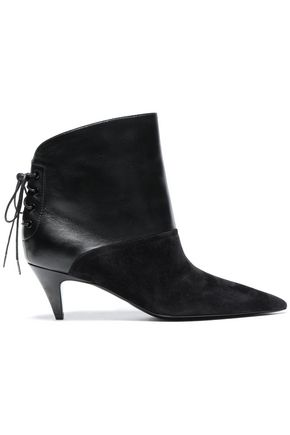 SAINT LAURENT Lace-up suede and leather ankle boots