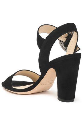 JIMMY CHOO Crystal-embellished suede sandals