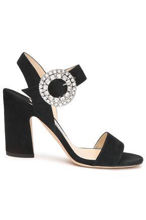 JIMMY CHOO | Jimmy Choo Crystal-Embellished Suede Sandals | Goxip