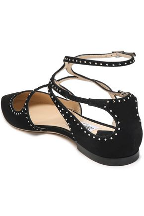 JIMMY CHOO Studded suede point-toe flats
