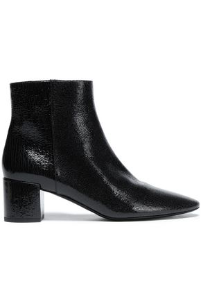 SAINT LAURENT Cracked patent-leather ankle boots