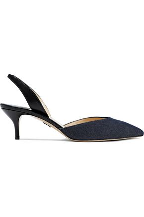 PAUL ANDREW Rhea leather and denim slingback pumps