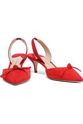 Paul Andrew Woman Rhea Knotted Suede Slingback Pumps Tomato Red