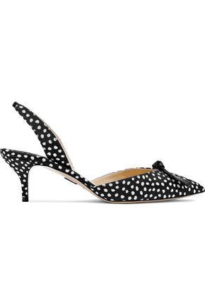 PAUL ANDREW Rhea knotted leather-trimmed polka-dot twill slingback pumps
