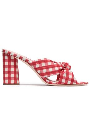 LOEFFLER RANDALL Knotted gingham organza mules
