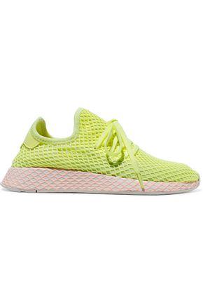 ADIDAS ORIGINALS Deerupt suede-trimmed neon mesh sneakers