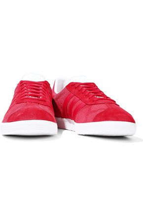 ADIDAS ORIGINALS Gazelle leather-trimmed snake-effect suede sneakers