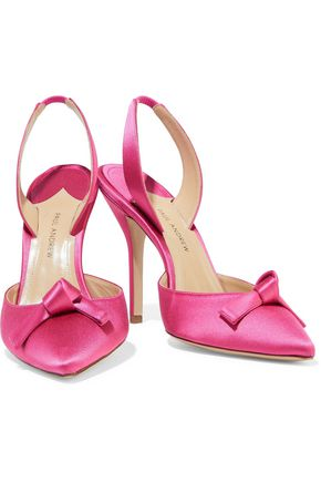Paul Andrew Woman Passion Knot Satin Slingback Pumps Pink