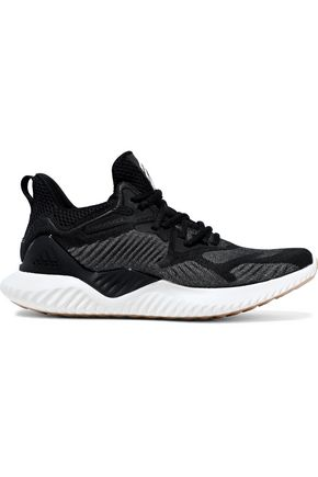 Alphabounce Beyond Mesh Paneled Stretch Knit Sneakers by Adidas