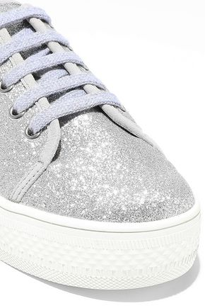 ALICE + OLIVIA Pemton glittered canvas platform sneakers