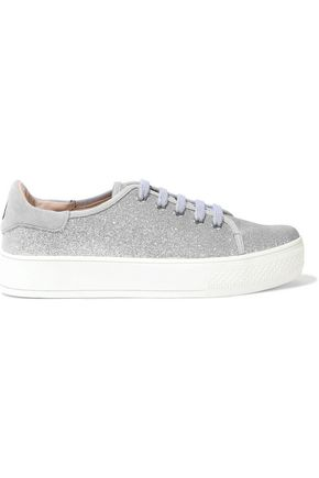 ALICE + OLIVIA Pemton glittered canvas platform sneakers