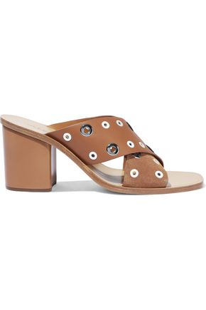 RAG & BONE Paige eyelet-embellished leather and suede mules