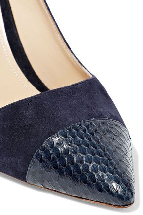 PAUL ANDREW Elaphe-paneled suede pumps