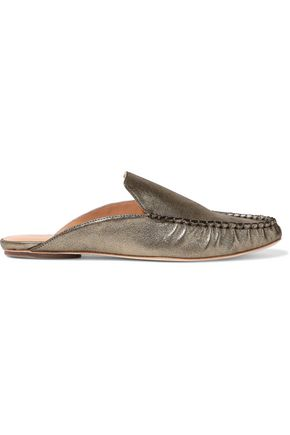 HALSTON HERITAGE Fern metallic leather slippers