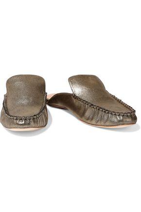 HALSTON HERITAGE Fern metallic leather slippers