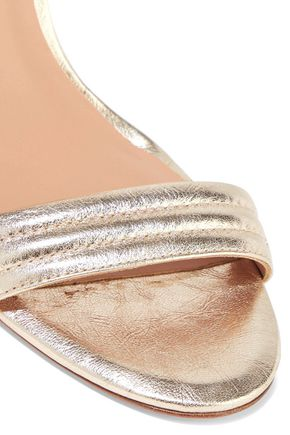 HALSTON HERITAGE Tricia quilted metallic leather sandals