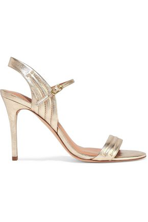 HALSTON HERITAGE Tricia quilted metallic cracked-leather sandals