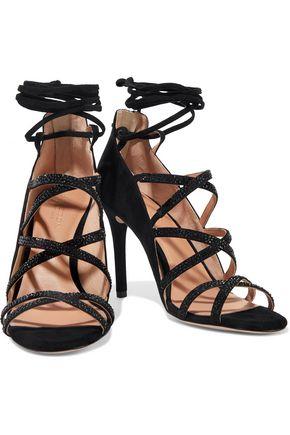 HALSTON HERITAGE Serena crystal-embellished suede sandals