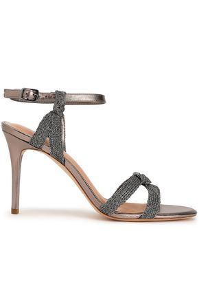 HALSTON HERITAGE Melanie metallic mesh and leather sandals