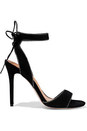 HALSTON HERITAGE Teresa metallic-trimmed suede sandals