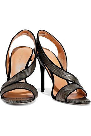 HALSTON HERITAGE Cora suede-trimmed metallic leather sandals