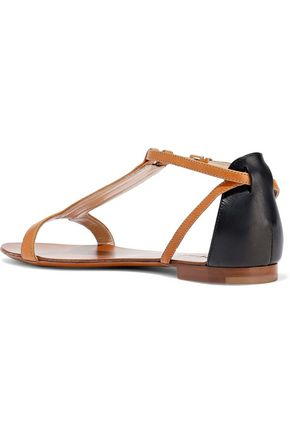 HALSTON HERITAGE Two-tone leather sandals