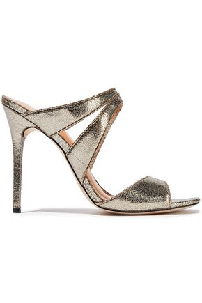 HALSTON HERITAGE Brittany cutout metallic cracked-leather sandals