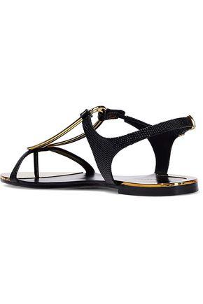 DONNA KARAN Kaden embellished lizard-effect leather slingback sandals