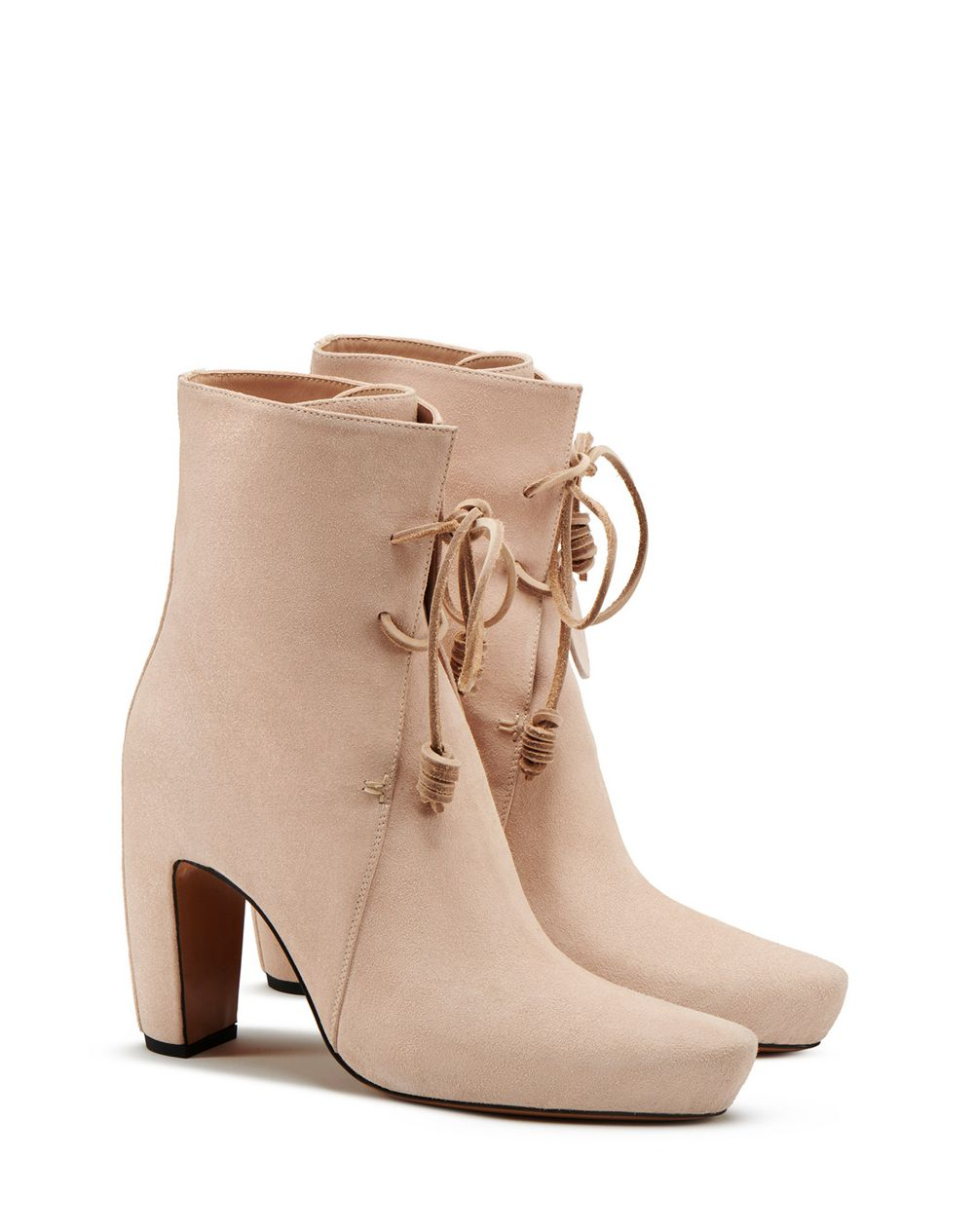 LEATHER ANKLE BOOTS WITH LACES  - Lanvin
