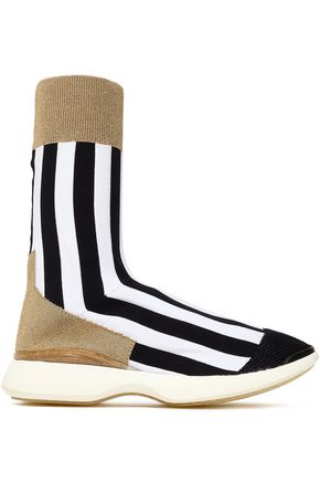 ACNE STUDIOS Batilda metallic-paneled striped stretch-knit sneakers