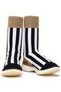 ACNE STUDIOS Batilda metallic-paneled striped stretch-knit sneakers