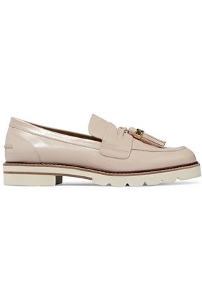 STUART WEITZMAN Tassel-trimmed glossed-leather loafers