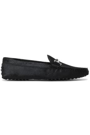 TOD'S Embellished calf hair loafers