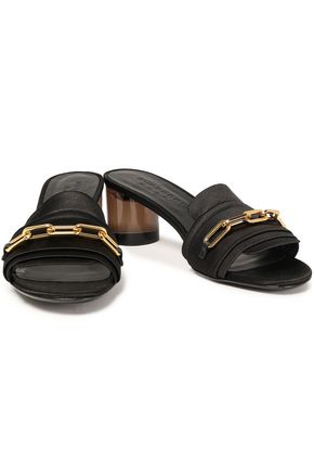 BURBERRY Chain-embellished satin sandals