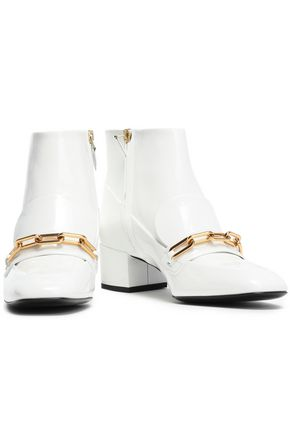 BURBERRY Chain-embellished patent-leather ankle boots