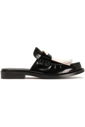 BURBERRY Fringed leather mules