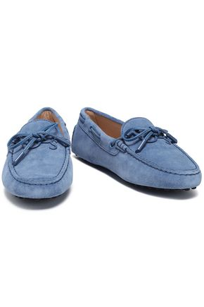 Tod's Bow-embellished Leather-trimmed Suede Moccasins In Light Blue