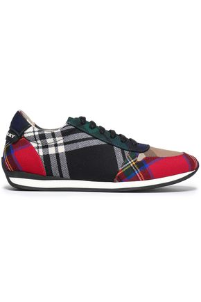 BURBERRY Patchwork-effect checked woven sneakers