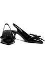 BURBERRY Bow-detailed patent-leather slingback pumps