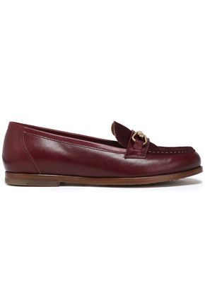 A.P.C. Embellished suede-paneled leather loafers