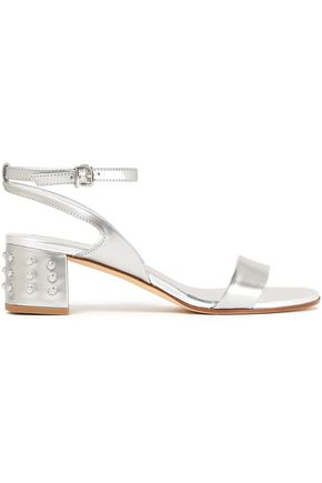 TOD'S Embellished metallic leather sandals