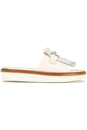 TOD'S Studded fringed leather slides