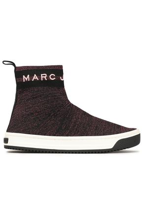 MARC JACOBS Metallic stretch-knit high-top sneakers